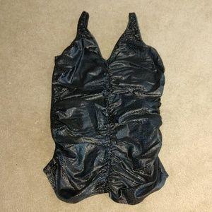Swimsuit one piece black snakeskin print 18